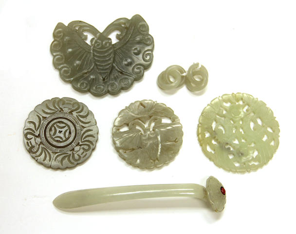 A group of jade and hardstone carvings