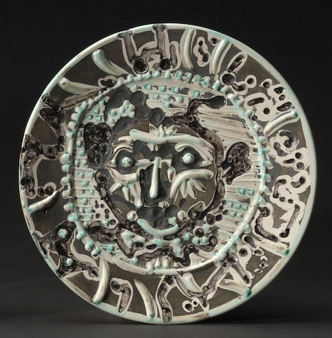 Pablo Picasso, Tormented Faun's Face, 1956, (AR 320), ceramic round dish, Edition of 200