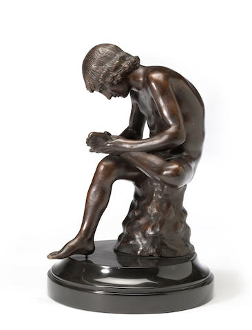 A patinated bronze figure: Il Spinario  <BR />after the antique<BR />early 20th century