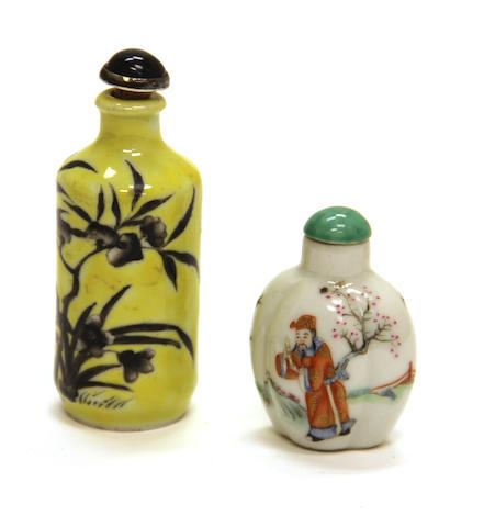 Two porcelain snuff bottles Qianlong marks, Republic period