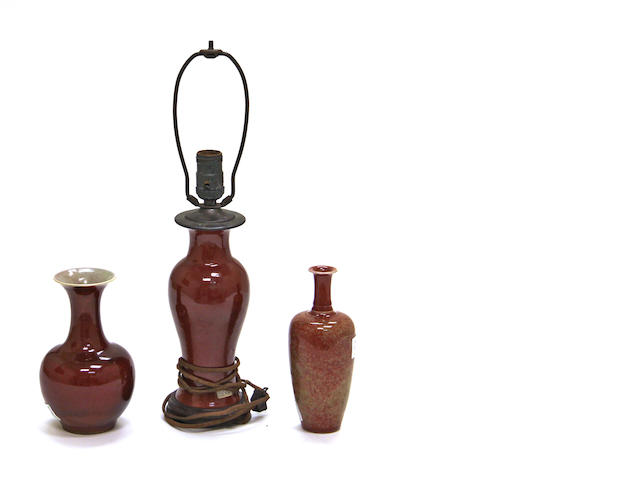 An assembled collection of red glazed porcelain Qing dynasty and later