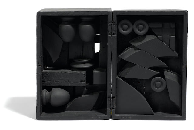 Louise Nevelson (American, 1899-1988) Rain Garden Cryptic XLI, 1970 open dimensions 5 1/2 x 10 13/16 x 7 3/16in. (14 x 27.5 x 18.2cm); closed dimensions 10 13/16 x 14 9/16 x 3 3/4in. (27.5 x 37 x 9.5cm)