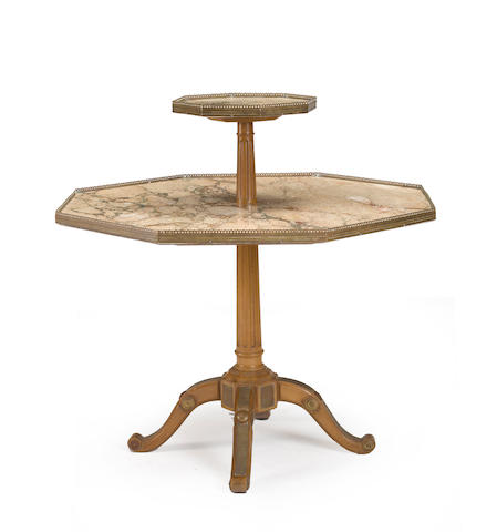 A French two tier gilt bronze mounted table de serviteur early 20th century