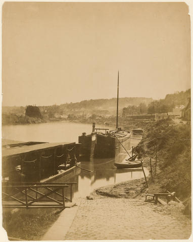 Henri-Victor Regnault (1810-1878); Sèvres, ses environs, Bords de la Seine.. vue prise de la Rive Gauche, d'aval en amont, au pied de la terrasse de Bellevue;