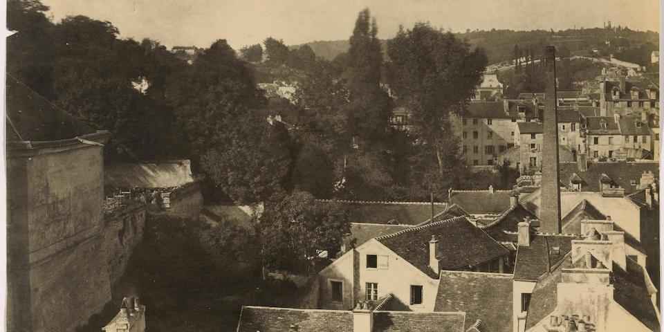 Henri-Victor Regnault (1810-1878); Sèvres et ses environs, Manufacture, vue de la ville de Sèvres prise.. de la Manufacture;