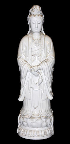 A Chinese blanc de chine figure of Guanyin