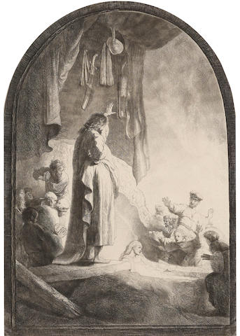 Rembrandt Harmensz van Rijn (1606-1669); The Raising of Lazarus: Large Plate;