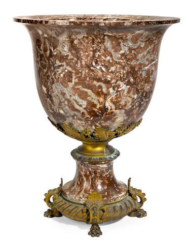 A French gilt bronze mounted marble jardinière