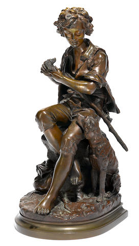 A French patinated bronze figure of a shepherd boy and his dog  after a model by Eugène-Antoine Aizelin (French, 1821-1902) late 19th century