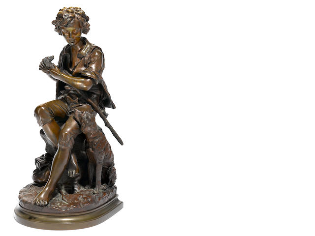A French patinated bronze figure of a shepherd boy and his dog, after a model by Eugene-Antoine Aizelin (French, 1821-1902), late 19th century