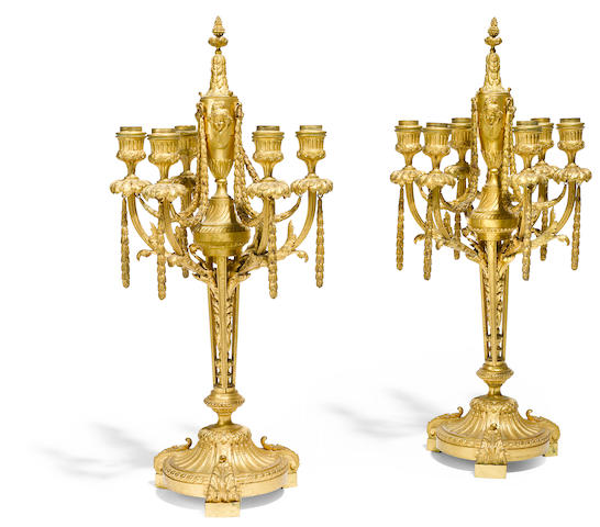 A pair of Louis XVI style gilt bronze six light candelabra, F. Bardedienne foundry, Paris, late 19th century