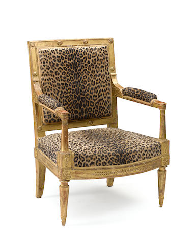 An Empire giltwood fauteuil à la reine with inventory mark probably for Louis Joseph, Duc de Bourbon and Prince de Conde (1736-1818) early 19th century