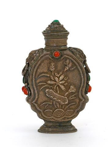 A Mongolian silver snuff bottle  Late 19th century