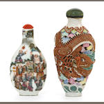 Two famille rose enameled porcelain snuff bottles Qianlong marks