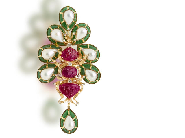 A ruby, diamond, green chalcedony and mabé cultured pearl brooch, Tony Duquette