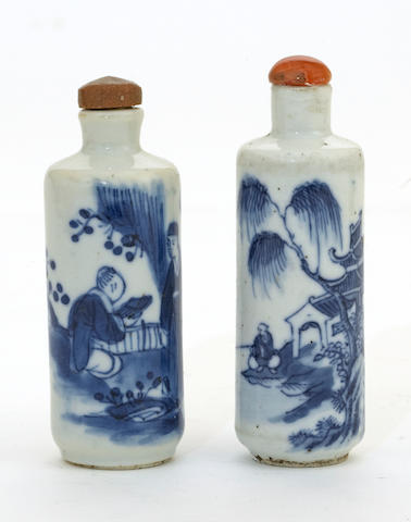 Two blue and white porcelain snuff bottles 19th century