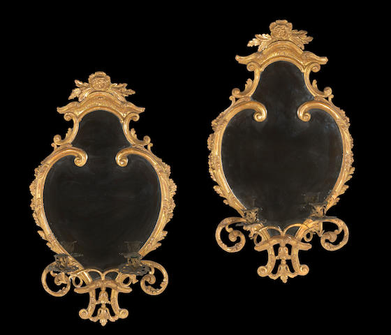A fine pair of George III giltwood two light girandole  mirrors<BR /> mid 18th century