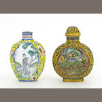 Two enameled metal snuff bottles