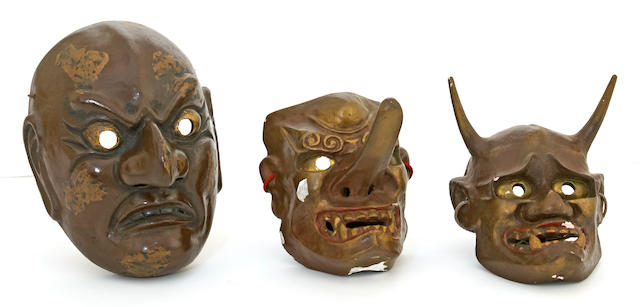 Three Japanese lacquered composition theatrical masks