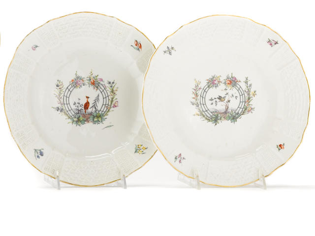 A pair of Nymphenburg porcelain plates<BR />circa 1763-77