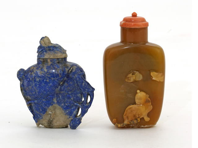 Two  hardstone snuff bottles