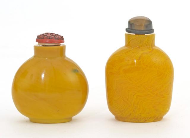 Two yellow Peking glass snuff bottles