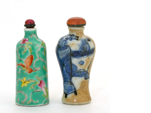 Two glazed porcelain snuff bottles