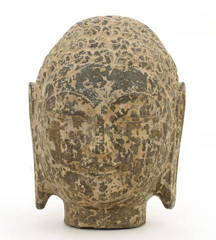 A Northern Qi style carved stone head of Buddha