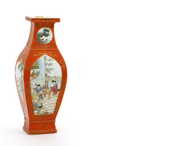 A coral red ground porcelain vase with famille rose decoration Jiaqing mark, Republic period