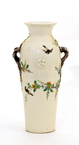 A cream glazed porcelain baluster vase with famille verte enamel decoration