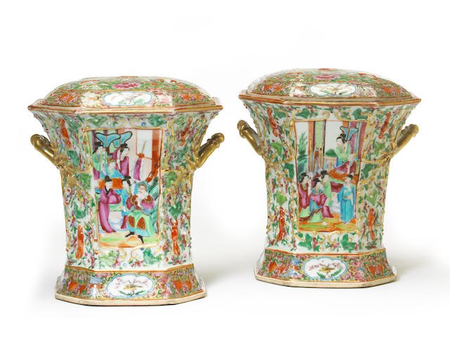 A pair of Chinese export Canton rose enameled porcelain bough pots  19th century