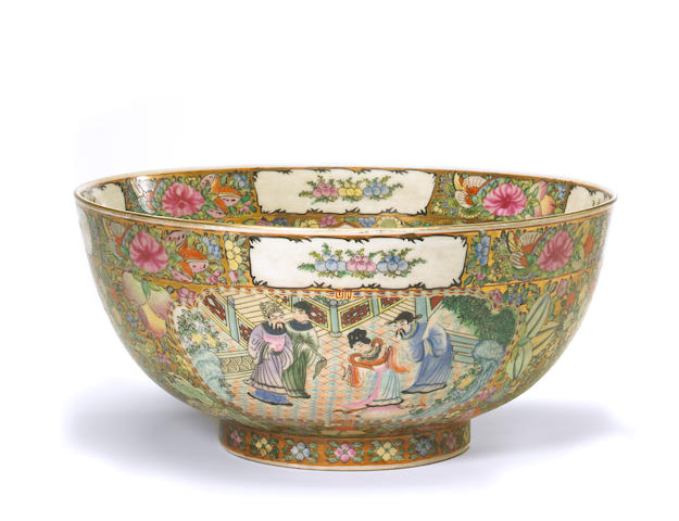 A large Chinese Canton rose medallion porcelain punch bowl  20th century