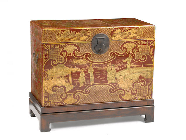 A Chinese red and gilt lacquered wood trunk  20th Century
