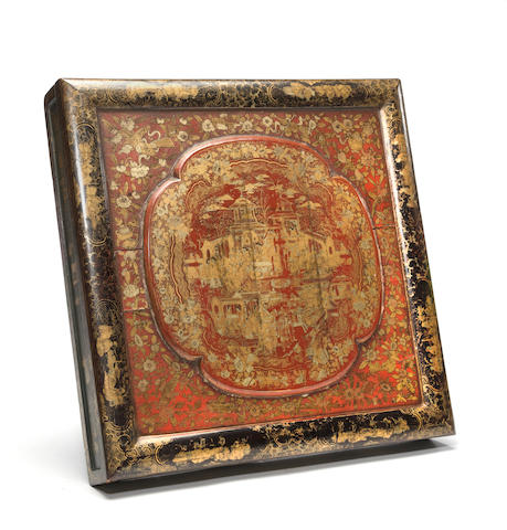 A Chinese export gilt, red and black lacquer robe box<BR />19th century