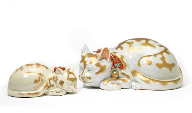 Two Japanese Kutani gilt and enameled porcelain cats