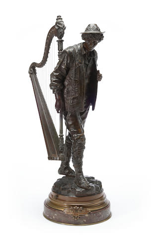 A French patinated bronze figure of a harpist: Sans Famille<BR />After a model by Eutrope Bouret (French, 1833–1906)<BR />late 19th century