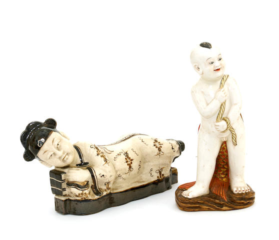 Two Chinese figural models of boys
