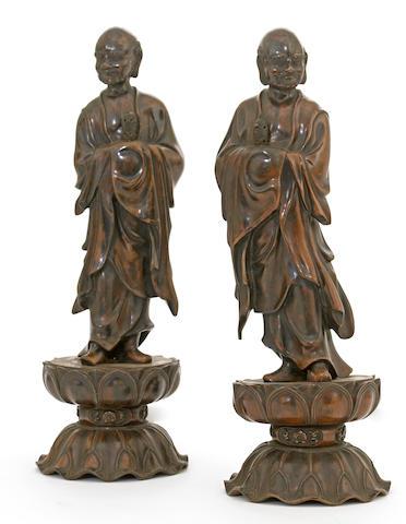 Two Japanese bronze figures of rakan