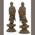 Two Japanese bronze figures of rakan