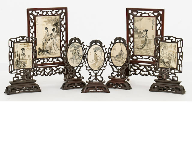 A group of eight bone and lacquered soft wood miniature table screens China, contemporary