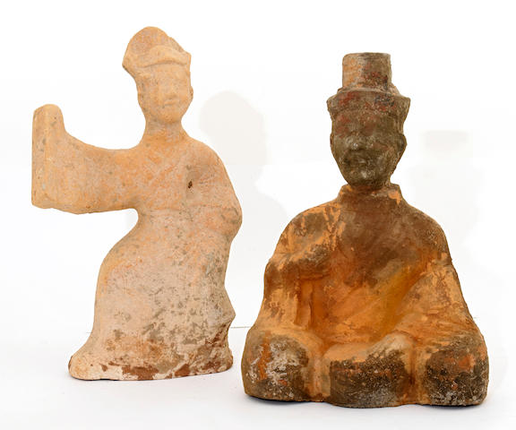 Two Sichuan style pottery figure of musicians  Han dynasty