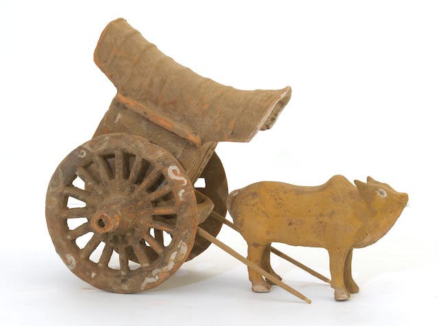 An assembled red pottery model of a bull and cart Han dynasty elements