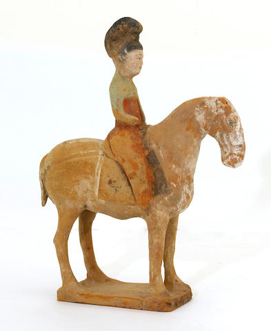 A pottery model of lady on horse Tang dynasty