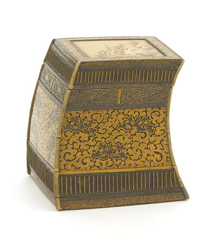A Japanese lacquer incense container in the form of a priest's travelingchest