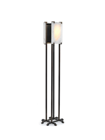 A bronze floor lamp with rock crystal slab shades Paul Belvoir, English Contemporary 2012