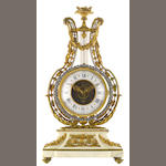 A Louis XVI style gilt bronze, paste jewel and marble lyre form clock<BR />retailed by Theodore B. Starr<BR />early 20th century
