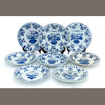 A group of eight blue and white export porcelain dishes with ribbed walls 18th century