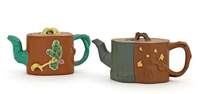Two Yixing teapots