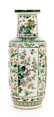 A famille verte enameled porcelain baluster vase Late 19th century