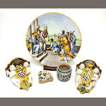 Four pieces of Italian majolica 19th century and earlier